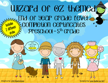 Wizard of Oz End of the Year Completion Certificates - Preschool thru Fifth