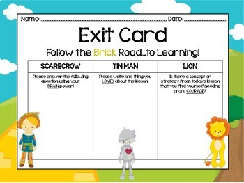 Wizard of Oz Exit Card Assessment