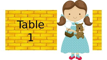 Wizard of Oz Group Table Tags (Yellow Brick Road Version)