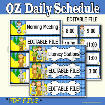 Wizard of Oz Inspired Daily Schedule, Editable File, Included Digital Time Cards