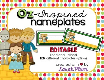Wizard of Oz Inspired Editable Nameplates