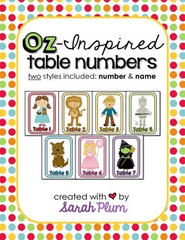 Wizard of Oz Inspired Table Numbers