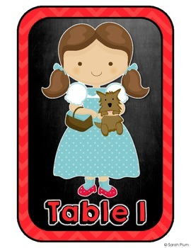 Wizard of Oz Inspired Table Numbers, Chalkboard Theme