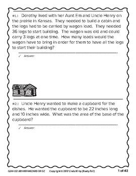 Wizard of Oz - Math Problem Solving – 3rd Grade