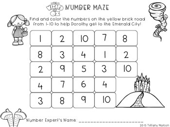 Number Mazes 1-20 - Wizard of Oz Theme