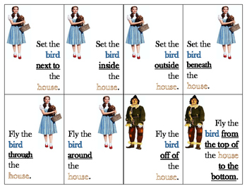 Wizard of Oz Prepositions of Location and Following Directions Card Game