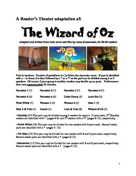 Readers' Theater:  Wizard of Oz