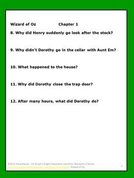 Wizard of Oz Novel Study