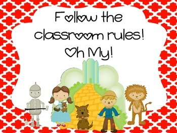 Wizard of Oz Rules and behavior chart
