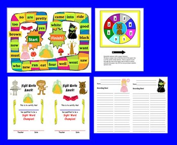 Wizard of Oz Sight Words Dolch Game Boards-First 106 Words - 5 Game Boards