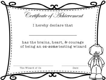 Wizard of Oz Testing Wizard Certificate
