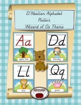 Wizard of Oz Theme D'Nealian Alphabet