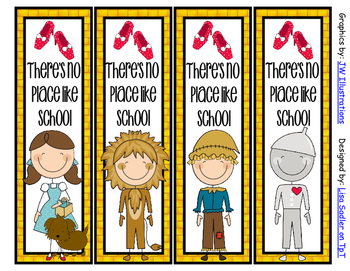Wizard of Oz Themed Bookmarks - 8 Designs