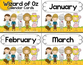 Wizard of Oz Themed Calendar Cards and Extras
