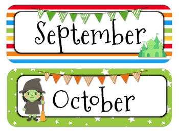 Wizard of Oz Themed Calender Headers l Months and Days of the Week