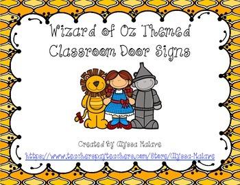 Wizard of Oz Themed Classroom Door Signs