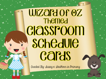 Wizard of Oz Themed Classroom Schedule Cards (Emerald City Green)