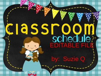 Wizard of Oz Themed Editable Classroom Schedule Cards