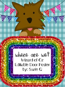 Wizard of Oz Themed Where Are We Editable Door Poster