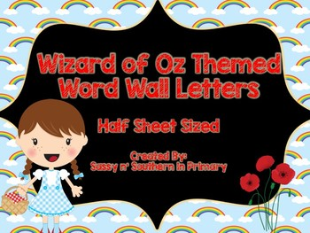 Wizard of Oz Themed Word Wall Letters (Rainbows)
