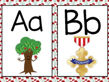 Wizard of Oz Themed Word Wall Letters (Red Poppy Flowers)