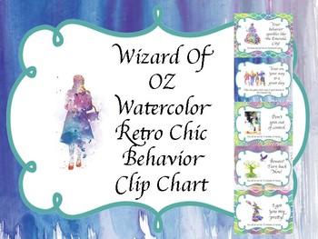 Wizard of Oz Water Color Retro Chic  Behavior Clip Chart