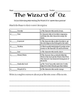 Wizard of Oz Worksheet