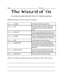 Wizard of Oz Worksheet