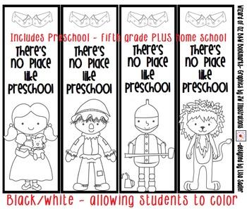 Wizard of Oz You Color Bookmarks- Preschool thru 5th Grade