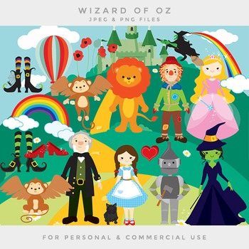 Wizard of Oz clipart - clip art Dorothy scarecrow tin man wicked witch