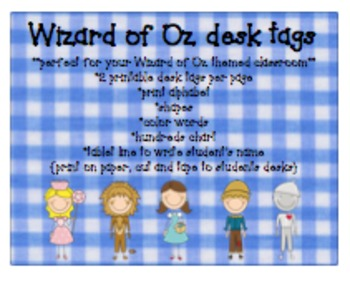 Wizard of Oz desk tags BUNDLE with learning tools