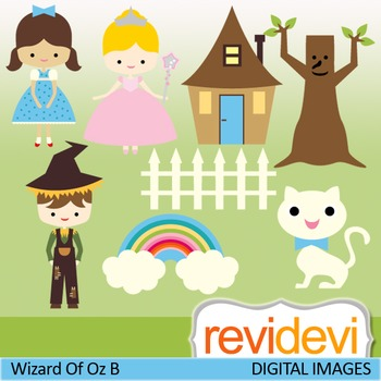 Wizard of Oz inspired clip art (fairytale digital clipart)