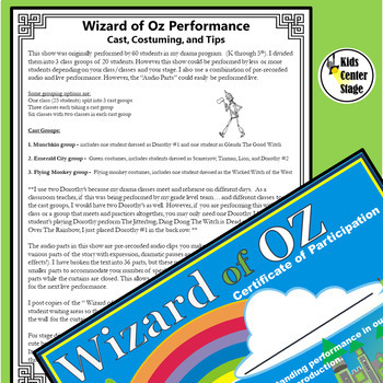 Wizard of Oz script for single class or large group musical performance