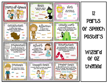Wizard of Oz themed Parts of Speech Posters