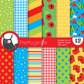 Wizard of oz digital paper, commercial use, scrapbook papers - PS679