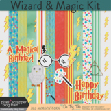 Wizard or Magic Birthday Clip Art, Elements, Background Papers