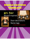 Wizard robe door decoratons name tag Harry Potter inspired cut out template