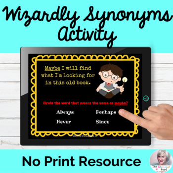Wizardly Synonyms Language Lesson NO PRINT Digital Teletherapy