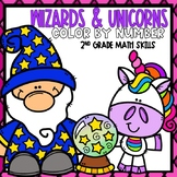 Wizards & Unicorn 2nd Grade Math Skills Mystery Pictures D