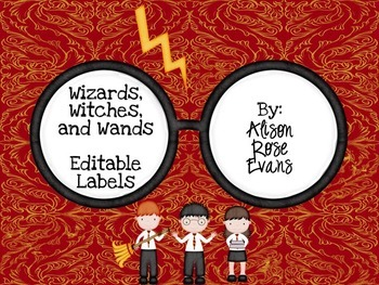 Wizards, Witches, and Wands Labels-editable