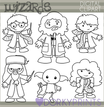 Wizards and Witches Black line Clipart