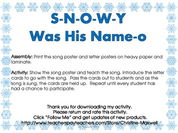 Winter Snowman Song And Posters S-N-O-W-Y Was His Name-O
