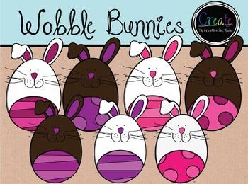 Wobble Bunnies - Digital Clipart