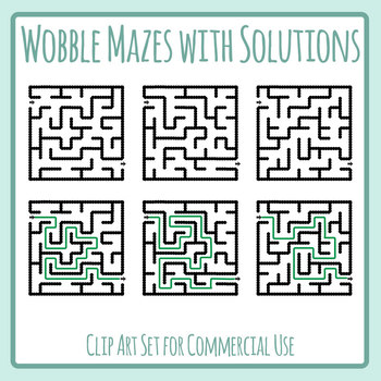 Wobbly Mazes with Solutions Clip Art Set for Commercial Use