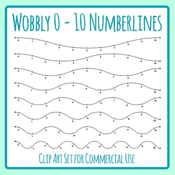 Wobbly Number Lines Maths Clip Art Set for Commercial Use