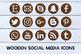 Wodden Social Media Icons Set