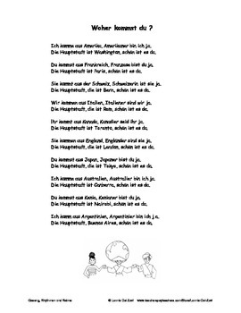 German Musical Chant About Countries, Capitals, Nationalities - Woher kommst du?