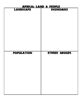 Wold Geography Africa - Land & People Graphic Organizer