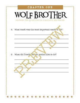 Wolf Brother, A Novel Study / Higher Level Questions & Unit Tests / Assessments
