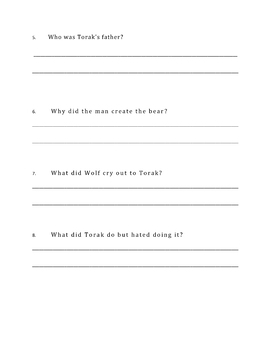 Wolf Brother, A Novel Study: Chapter 11 / Questions Only / Student Worksheets